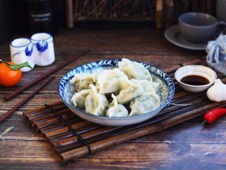 #猪五花肉# 猪肉韭菜虾仁水饺,成品图。
