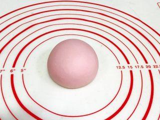 吉祥如意小猪馒头,把淡粉色的面团揉匀滚圆,轻轻按扁点。