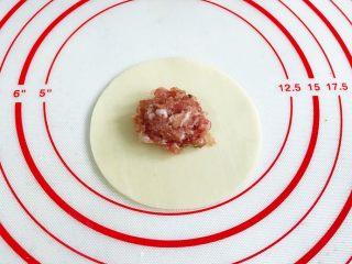 四喜蒸饺,取一张饺子皮,中间放入适量的肉馅。