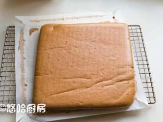 可可蛋糕卷,烤盘放入已预热到位的烤箱下层,烘烤25分钟,到时取出烤盘,将烤盘倒扣在铺油纸的网架上,撕开蛋糕四周的油布,迅速倒扣回来。用擀面杖将蛋糕轻轻卷一下,做一下定型。