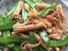 鱿鱼干炒荷兰豆