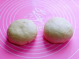 沙拉火腿面包卷,发酵好的面团分成2份,盖上保鲜膜松弛10分钟。