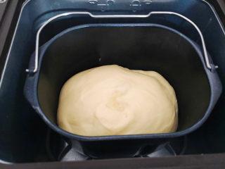 黑钻吐司,揉好后盖上面包机的盖子,室温23度,室温发酵,面团发酵至原来2倍大即可,