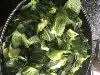 香菇炒青菜,倒入清洗干净的青菜。