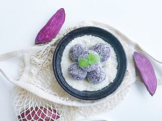 紫薯芝士风味球,成品摆放好 习惯性的各种摆拍 不放过每一张