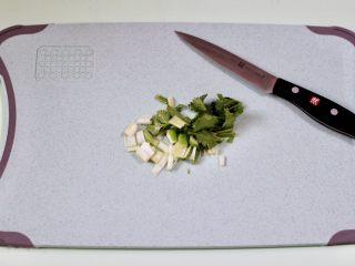 海蛎子豆腐汤,把葱和香菜洗净后用刀切成段备用。