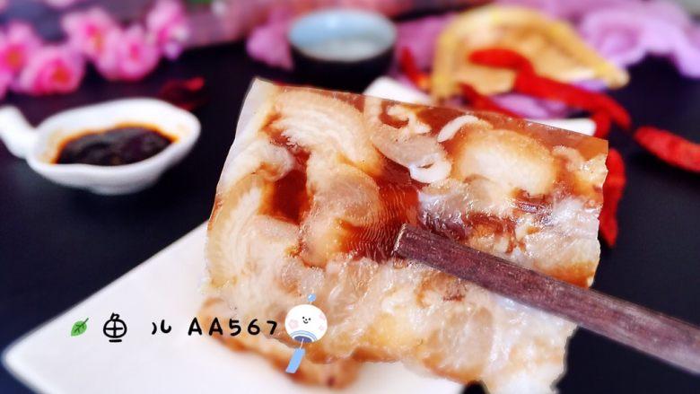 #猪蹄#猪蹄冻,装盘,蘸蒜泥酱汁食用