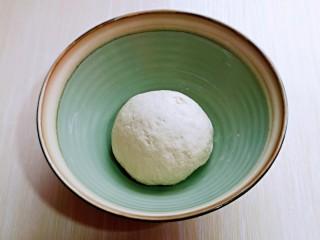 皮薄馅大~发面梅干菜肉饼,揉成不粘手的面团即可,盖上保鲜膜进行发酵。