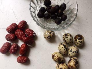 桂圆鹌鹑蛋红枣糖水,食材。