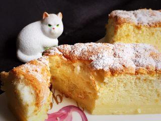 魔法蛋糕,从上而下切一块放嘴里明显有三种口味的感觉,嫩嫩的蛋糕很有口感。