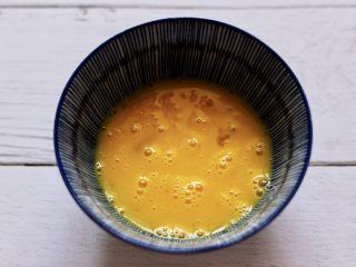 明目养肝的草莓酸奶三明治,把鸡蛋打入碗中,加入盐,用筷子打散备用。