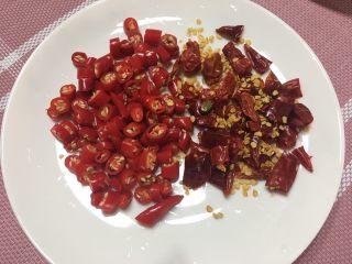 水煮肉片,小米椒、干辣椒切碎备用