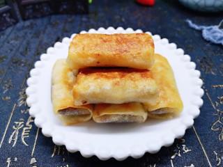 快手早餐~少油版香煎肉松春卷,近看,外酥里香。