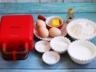 香草味水果华夫饼,准备好主要食材。