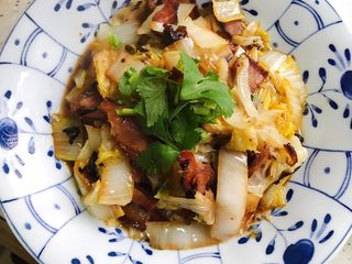 豆豉白菜酱油肉,装盘,加少许香菜点缀装饰,嫌麻烦就算了🤣