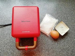 早餐华夫饼,准备好华夫饼早餐机和食材。