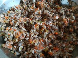 白香菇猪肉包子  新文美食,剁碎的香菇放入盆中,早晨的胡萝卜蒸饺馅剩下一小碗正好放在一起了。