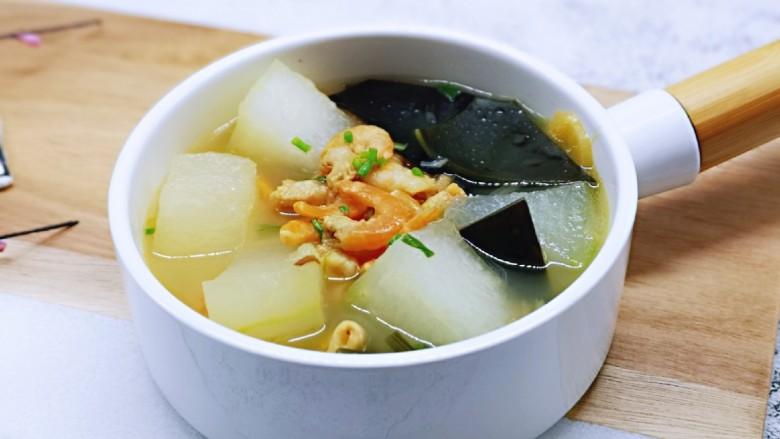 虾干海带冬瓜汤,味道极其鲜美,春天补钙佳品。