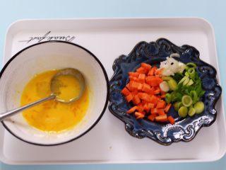 补钙又营养的虾仁豆芽蛋炒饭,用刀把蒜苗切碎,胡萝卜切丁、鸡蛋打散备用。