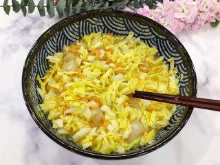 金钩海米仙贝娃娃菜鸭蛋羹,搅拌均匀