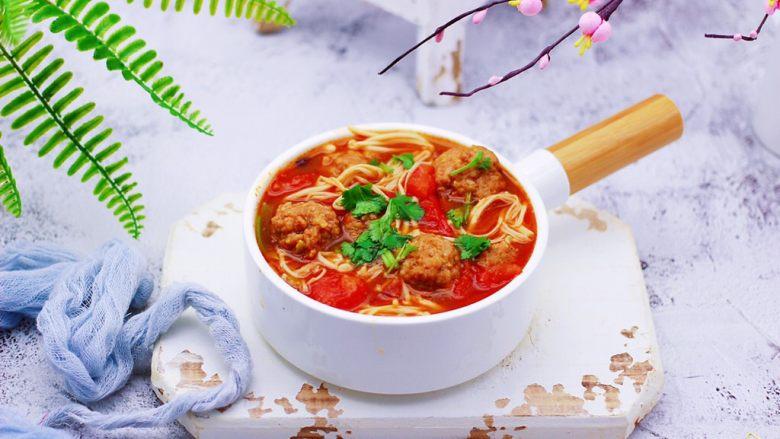 番茄肉丸汤,成品一