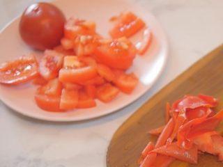 蕃茄意大利直筒面,番茄去皮切块