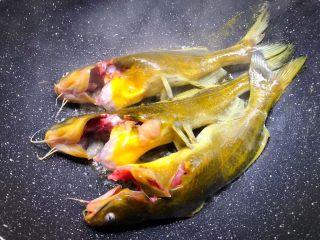 黄骨鱼豆腐汤,热锅放入适量油,烧至8成热,把洗干净的黄骨鱼放入煎,煎好一面翻另一面继续煎制。