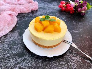 芒果慕斯蛋糕,上面放上芒果丁做装饰
