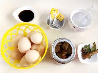 红糖茶叶蛋,准备好需要的食材。