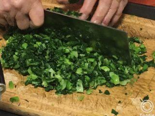 上海菜馒头,青菜洗净烫过切碎。