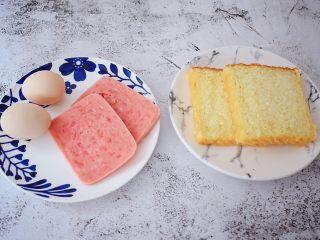 火腿蛋三明治,准备好材料
