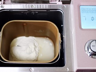 蘑菇韭菜饺子,面包机里加入称重的<a style='color:red;display:inline-block;' href='/shicai/ 549/'>中筋面粉</a>和清水,放入2克盐后,启动东菱面包机的和面程序开始和面。