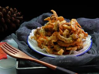 酥炸蘑菇,平菇热量低,好吃到根本停不下来,