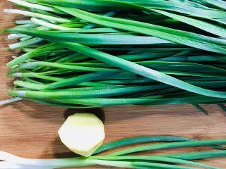 韭菜炒花蛤肉,准备好韭菜、葱和姜