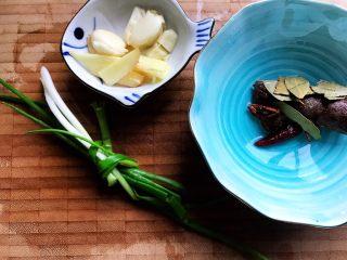 西红柿土豆炖牛腩(高压锅版),小葱洗净打结,大蒜去皮洗净之后拍碎,其他大料稍微冲洗一下