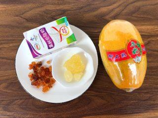 木瓜桃胶牛奶,食材合影