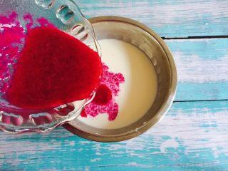 少女心爆棚+火龙果牛奶小方,加入火龙果汁