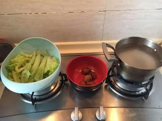 生菜肉丸粥,准备材料淘好的大米1:10比例加上水 几颗爱吃的肉丸 和准备一颗生菜