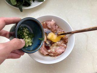 点翠清汤白玉丸➕木耳冬瓜丸子汤,加入葱末姜末,搅拌均匀,顺着一个方向搅打上劲