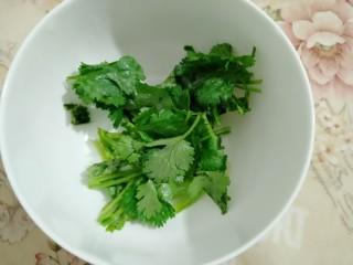 牡蛎鱿鱼粥,香菜切段
