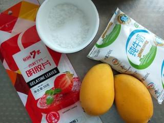芒果牛奶冻,准备好所有食材