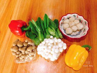 蔬烩虾丸,食材准备好