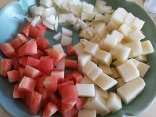 咖喱丸子,土豆胡萝卜洋葱切丁
