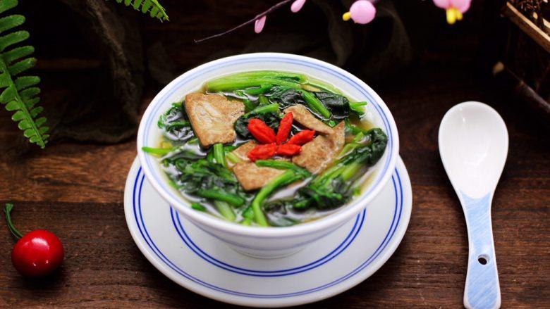 菠菜猪肝汤,成品一
