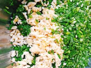 荠菜鸡蛋薄皮大混沌,荠菜,韭菜,鸡蛋都放入盆中