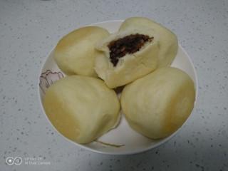 蒸豆沙面包,铛铛挡~开吃了。