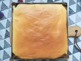 草莓蛋糕卷,烤好的蛋糕拿出来放凉