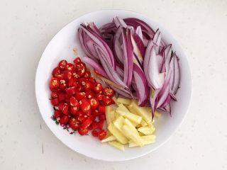 美味下饭菜  腊肉炒榨菜,把鲜姜切成丝,小米辣切成辣椒圈,紫皮圆葱切成丝
