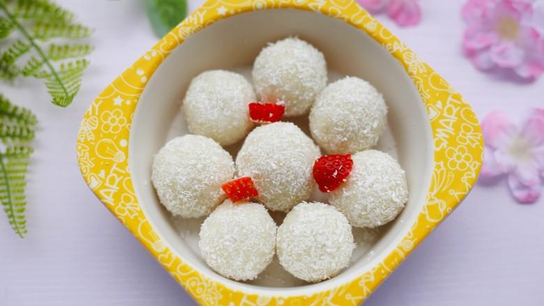酸酸甜甜的奶香草莓🍓山药球,成品。