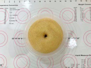 中种胡萝卜吐司,发酵至两倍大,手指沾少许干粉插入,不塌陷不立即回缩即可。